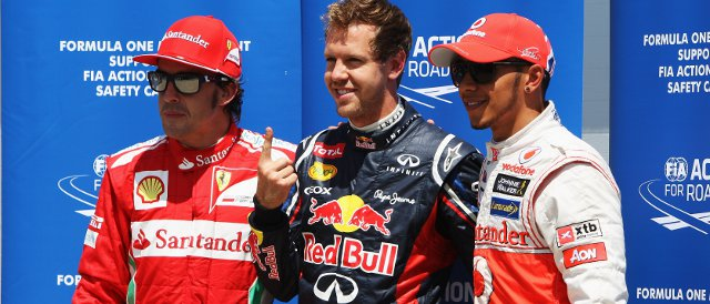 The top three in qualifying today: (left to right) Fernando Alonso (3rd), Sebastian Vettel (pole), Lewis Hamilton (2nd) - Photo Credit: Ker Robertson/Getty Images