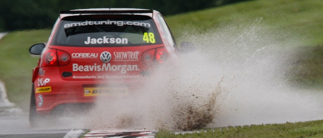 Ollie Jackson splashes through Cascades during qualifying at Oulton Park (Photo Credit: btcc.net)