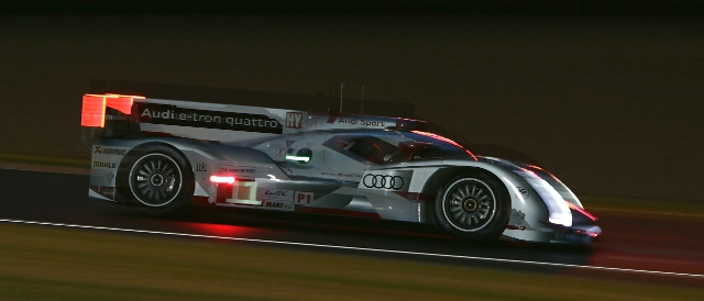 The #1 Audi R18 e-tron quattro leads through the night (Photo Credit: Audi Motorsport)