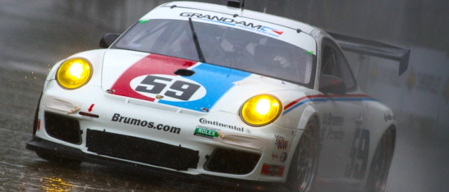 Brumos Racing's Porsche in the wet practice session in Detroit (Photo Credit: Grand-Am)