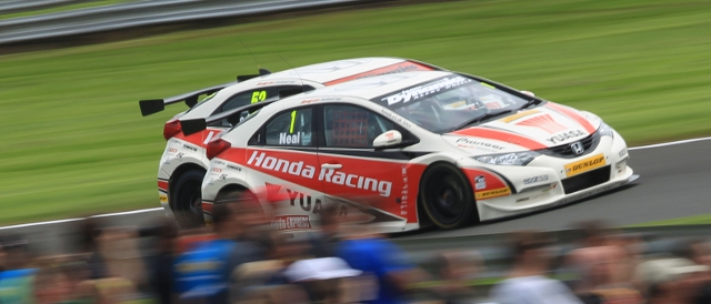 Matt Neal on his way to race three victory at Oulton Park (Photo Credit: btcc.net)