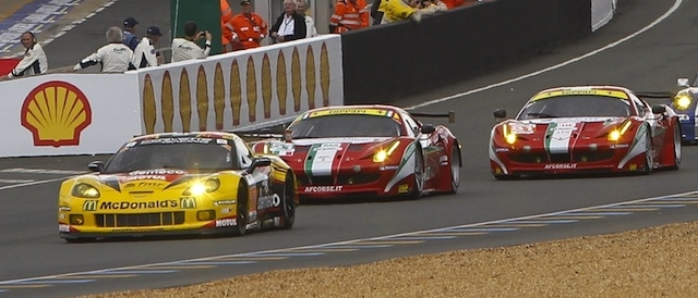 Larbre Competition's Corvette leads a group of GTE cars (Photo Credit: V Images)