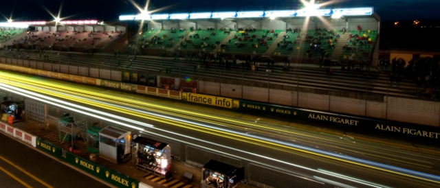 Night racing past the pits at Le Mans (Photo Credit: MacLean Photographic)