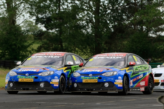 Jason Plato passed Andy Neate on his way to race three win (Photo Credit: btcc.net)