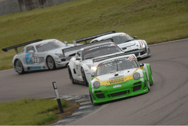 Joe Osborne and Steve Tandy combined to win the first two hours Avon Tyres British GT Championship race of the year, winning the fifth round of the 2012 season at Rockingham.