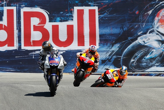 Jorge Lorenzo leading the early stages at Laguna Seca - Photo Credit: MotoGP.com