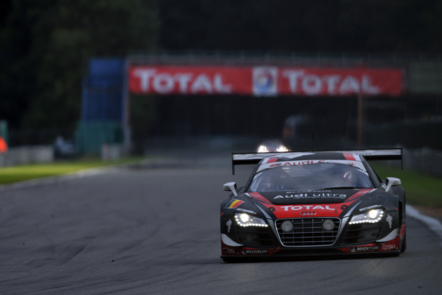 The #1 Audi R8 LMS took the lead, but then had to give it to pit (Photo Credit: Dan Bathie/l'endurance)