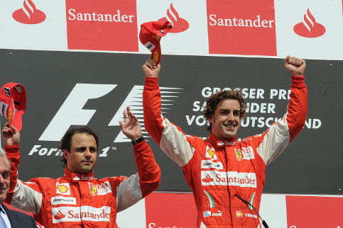 It is probably fair to say that Felipe Massa (left) did not look too overjoyed by Alonso's win at Hockenheim two years ago - Photo Credit: Ferrari