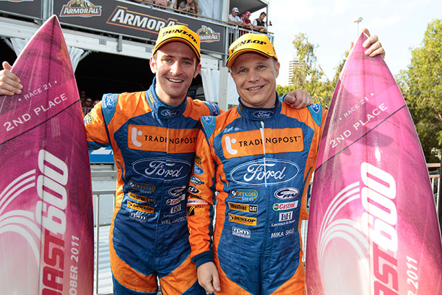 Photo of Mika Salo & his friend driver  Will Davison -