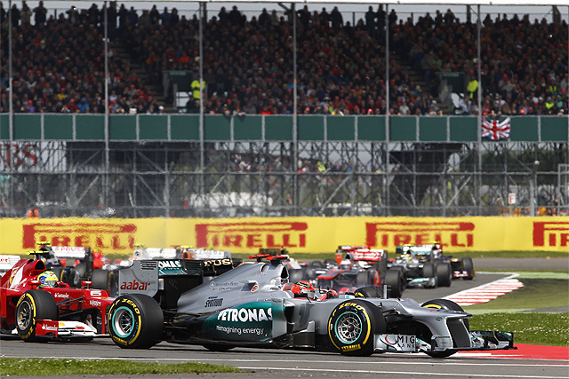 The Mercedes drivers were left to rue what might have been today after the expected rain at Silverstone never materialised.