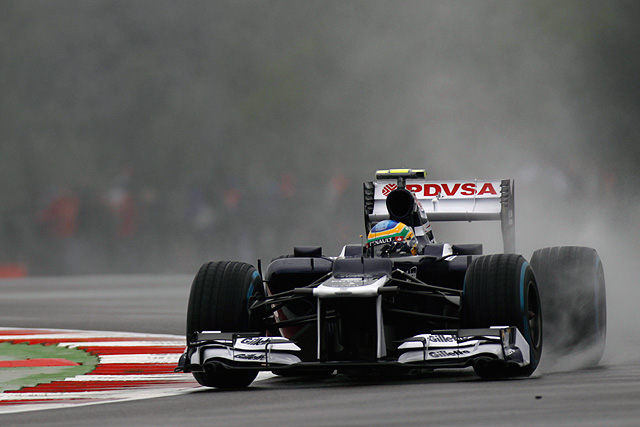 Williams drivers braved the rain hit sessions at Silverstone ahead of the British Grand Prix as the worked on wet tyre runs and set-up work, it wasn't to be the productive day they had hoped for after Bruno Senna aquaplaned off the circuit and in to the barriers.