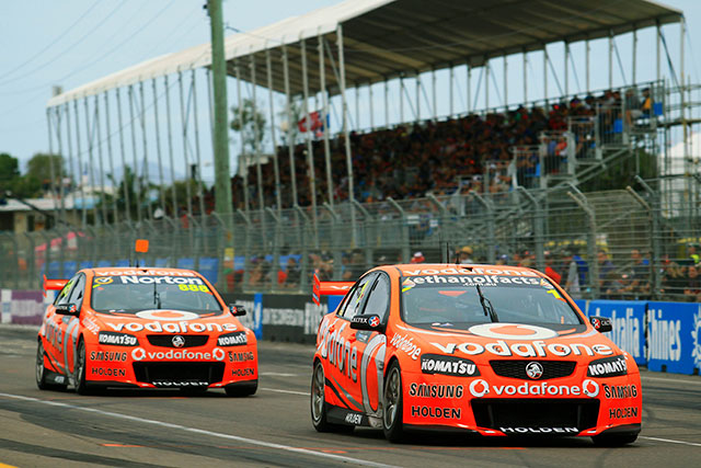 Whincup leads home the TeamVodafone 1-2 at Townsville Photo credit: TeamVodafone