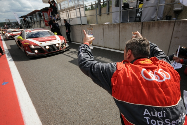 The team of Frank Stippler, Rene Rast and Andrea Piccini hald on to give Audi a second consecutive victory in the Total 24 Hours of Spa, extending their lead  in a dramatic final hour that included the final safety car.
