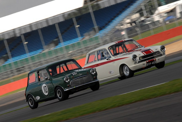 Lotus Cortinas and Mini Coppers star in the Under 2-litre touring cars (Photo Credit: Chris Gurton Photography)