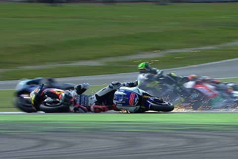 The crash that ultimately ruined Crutchlow's race - Photo Credit: MotoGP.com