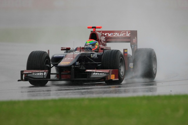 Conditions at Silverstone were treacherous at best for the GP2 practice session, which saw three red flags. The last of those brought an early end to the 30 minute session, with Fabrizio Crestani seemingly having mastered the conditions to set a time 1.1 seconds faster than anyone else.