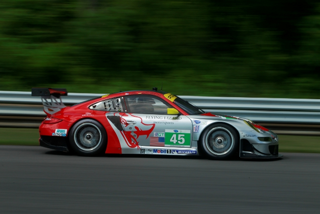 Flying Lizard Bergmeister and Long took a first win of the season at Lime Rock (Photo Credit: Porsche AG)