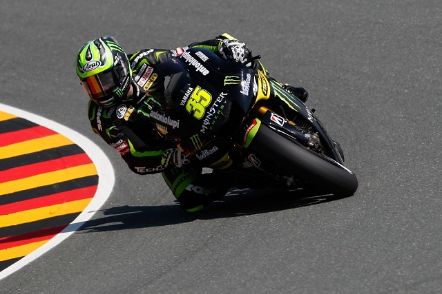 Cal Crutchlow's wait for a first podium finish in MotoGP goes on after a late error left him down in eighth at the Sachsenring on Sunday