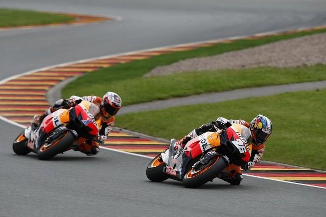 Dani Pedrosa ahead of Casey Stoner - Photo Credit: Repsol Honda