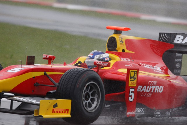Fabio Leimer delivered a stunning lap time in the Silverstone rain to finish up nine tenths clear of the opposition in GP2 qualifying.