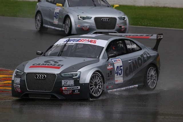 Gianni Morbidelli claimed his second double victory of the 2012 International Superstars Series season after dominating proceedings in his Audi RS5 at a soaked Spa-Francorchamps.
