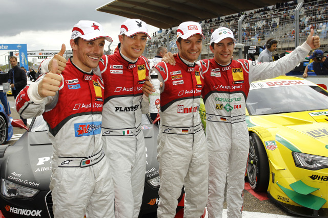 Scheider (2nd from right) took pole as Audi locked out the front five positions in qualifying (Photo Credit: DTM Media)