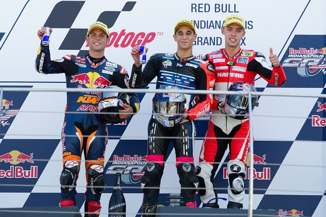 The podium finishers in the Indianapolis Grand Prix - Photo Credit: MotoGP.com