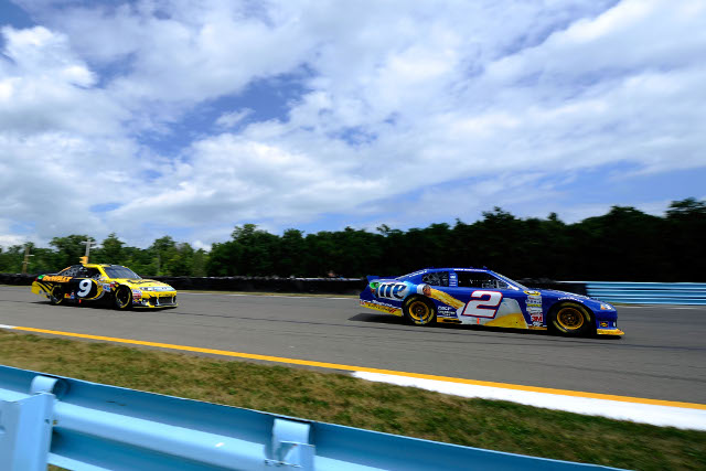 Keselowski led Ambrose until the closing corners of the race (Photo Credit: John Harrelson/Getty Images for NASCAR)