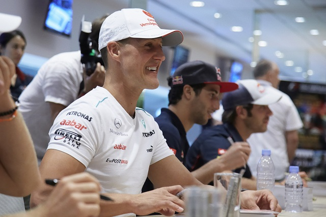 Michael Schumacher was pleased to have put so many laps on the updated Mercedes W03 this evening although he is still unsure how quick they truly are around Singapore