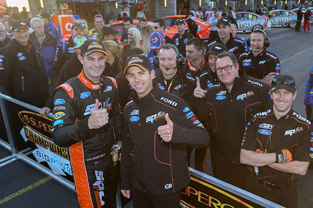 SP Tools Racing's Shane van Gisbergen has secured pole for the Dick Smith Sandown 500 after taking victory in a lively second 20-lap qualifying race