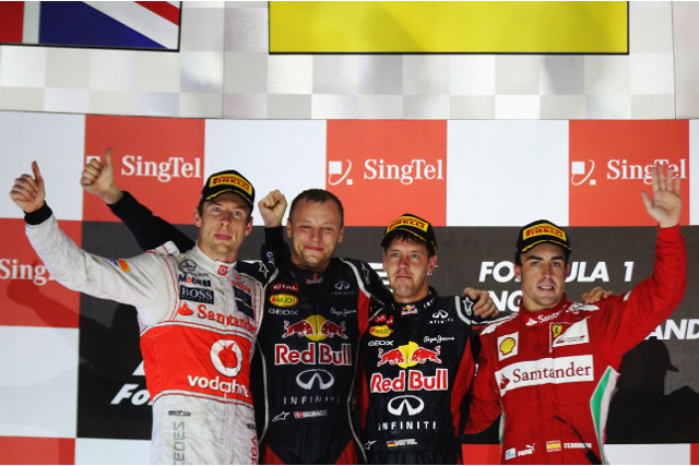 Sebastian Vettel of Red Bull won the Singapore Grand Prix. Fernando Alonso now leads the Drivers' Championship by 29 points from Vettel, and Red Bull have a 36 point lead in the Constructors' Championship