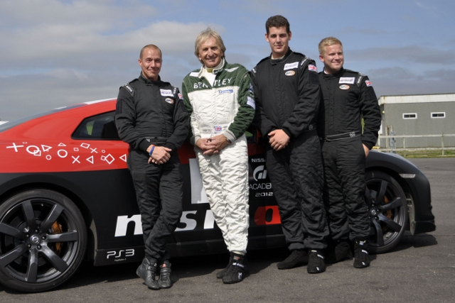 Britcar 24 drivers Gary Dunning, Martyn Coplehurst and James Gillborn with Drek Bell (Photo Credit: Mission Motorsport)