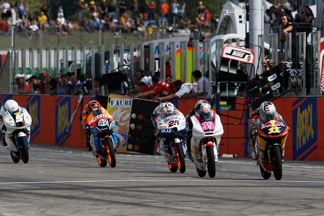 Sandro Cortese leads at the start of the final lap - Photo Credit: MotoGP.com