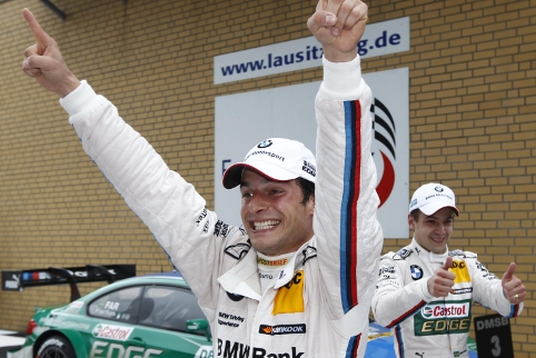 The first of 3 wins so far in 2012, Spengler celebrates at the Lausitzring (Photo Credit: DTM Media)