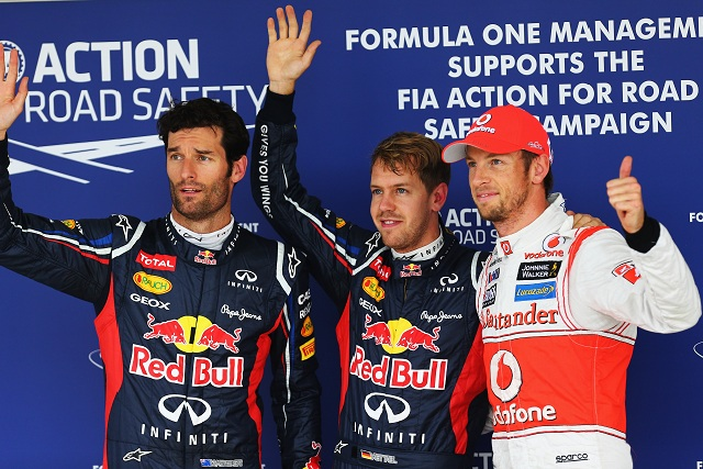 The top three qualifiers at Suzuka, Mark Webber (2nd), Sebastian Vettel (pole) and Jenson Button (3rd) - Photo Credit: Clive Rose/Getty Images