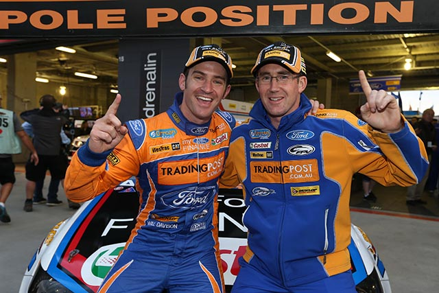 Will Davison & John McIntyre celebrate Bathurst pole Photo credit: Ford Performance Racing