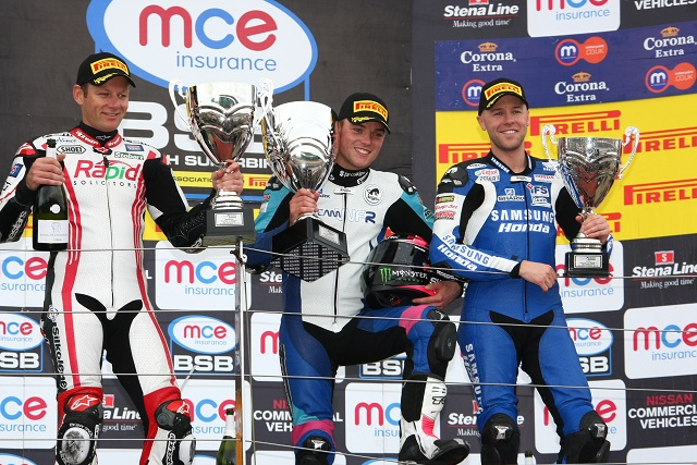 Alex Lowes celebrating his maiden BSB victory - Photo Credit: Motorsport Vision