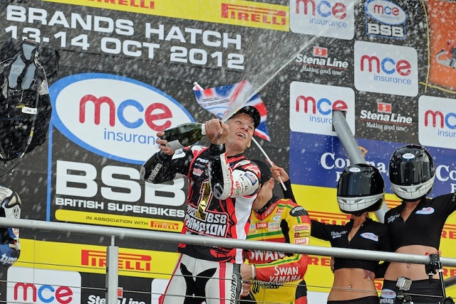 Shane Byrne clinched his third British Superbike Championship in sensational style, winning the third race of the weekend at Brands Hatch to complete an outstanding hat-trick