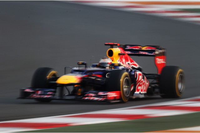Sebastian Vettel of Red Bull was fastest in both Friday practice sessions for the Indian Grand Prix