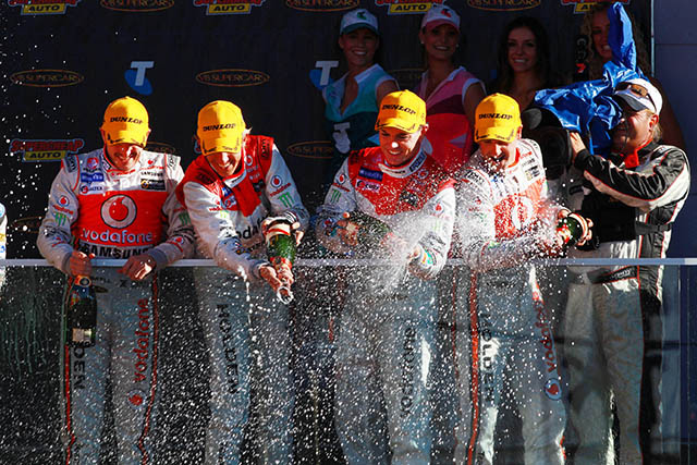 Whincup and Dumbrell celebrate their Bathurst victory Photo credit: TeamVodafone