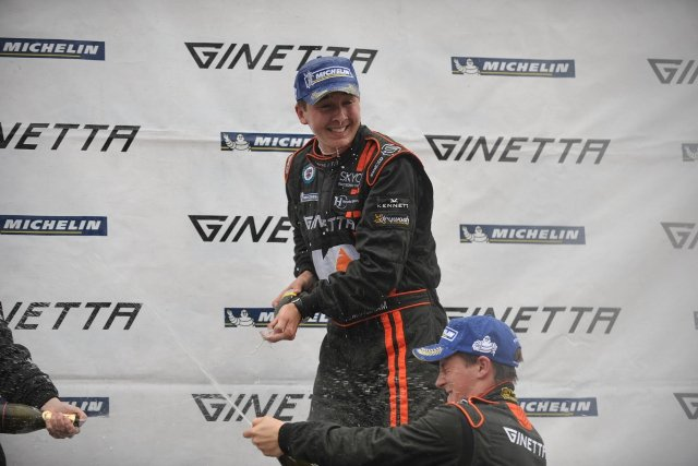 Ingram tasted champagne twice from the top top of the podium at Rockingham (Picture Credit: Lee Foxon)