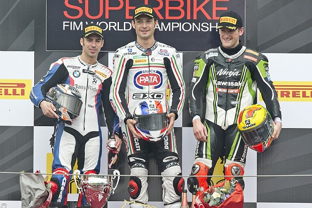 The podium finishers in race one at Magny Cours: Marco Melandri (2nd), Sylvain Guintoli (winner) and Tom Sykes (3rd) - Photo Credit: Kawasaki