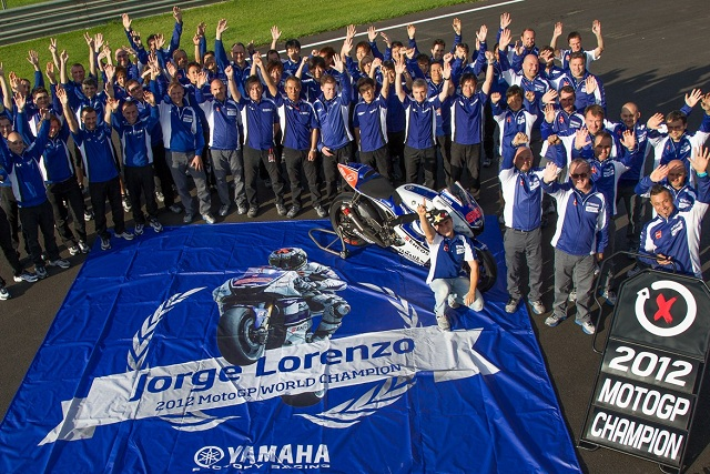 Jorge Lorenzo and his title winning Yamaha squad - Photo Credit: MotoGP.com