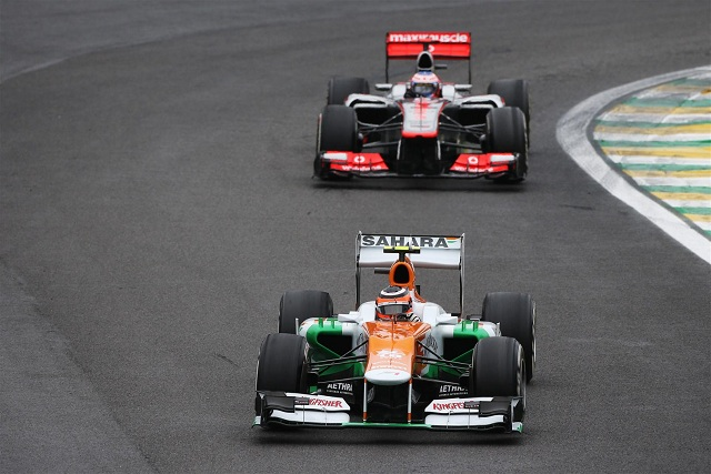 Nico Hulkenberg after taking the lead from Jenson Button - Photo Credit: Sahara Force India F1 Team