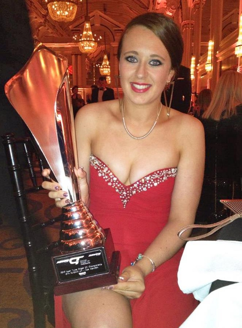 Zoe collected her runners-up trophy at the SRO Awards night in London