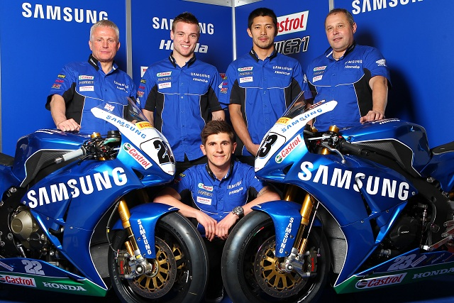 Samsung Honda's 2013 line-up, including British Supersport rider Jason O'Halloran - Photo Credit: Honda UK