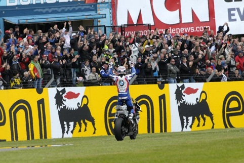 Melandri soaks up the adulation after breaking BMW's duck (Photo Credit: WorldSBK.com)