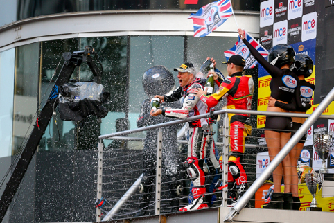Byrne, Brookes and Hill on the final BSB podium of 2012 - before the clothes came off (Photo Credit: britishsuperbke.com)