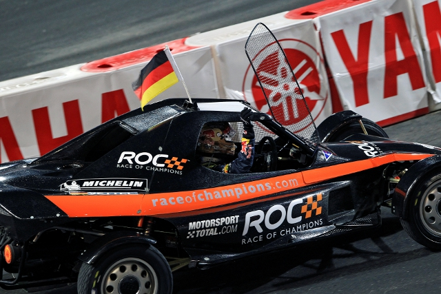 Vettel completed Team Germany's rout, beating Sebastien Ogier in the final (Photo Credit: Race of Champions)