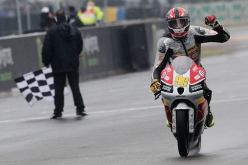 Louis Rossi took a home win on a wet Bugatti Circuit (Photo Credit: motogp.com)